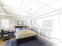 Custom Bedroom Drawing Gradation Into Photograph.