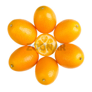 Ovale Kumquats formen ein Sonnensymbol