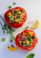 Tomato stuffed with couscous filling