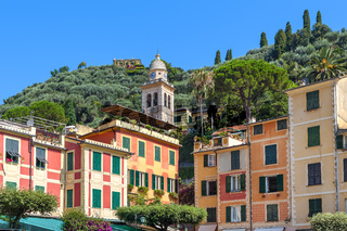 Belfry and colorful houses of Portofino.