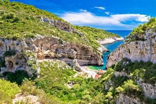 Scenic beach of Croatia on Vis island