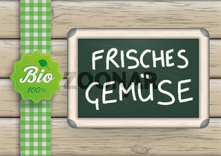 Frisches Gemuese Blackboard Wood Bio