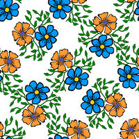 Seamless color pattern with flowers.