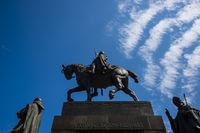 Reiterdenkmal des Hl. Wenzel, Wenzelsstatue vor dem Nationalmuseum, Václavské námestí, Wenzelsplatz, Prag, Tschechische Republik, Europa