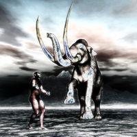 Mammoth with prehistoric man