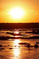 sunset at Olifants River, Kruger national park, south africa