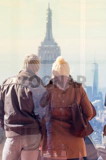 Tourist taking photo of New York City.