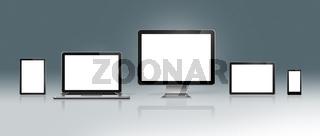 High Tech Computer Set on a deep grey background