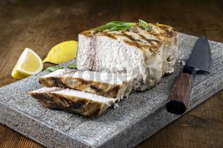 Barbecue Swordfish on Flagstone