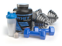 Whey protein with dumbbells and shaker. Sports bodybuilding  supplements or nutrition. Fitness or healthy lifestyle concept.