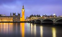 Westminster at dusk at a cloudy day, London, UK