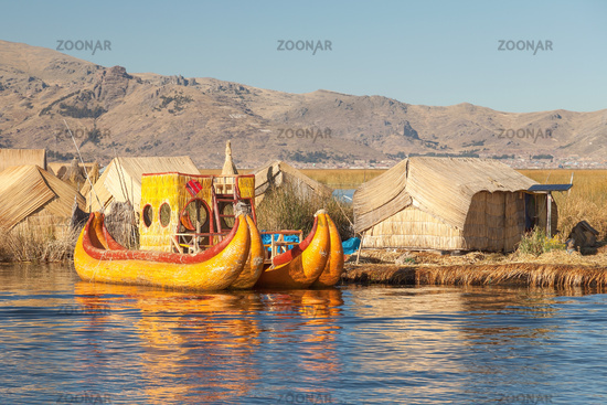 Reed boat on Island of Uros lake Titicaca Peru and Bolivia