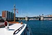 Motorboat before the bascule bridge in Sönderborg