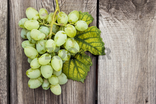 bunch of green grapes on wooden background