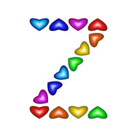 Letter Z made of multicolored hearts on white background