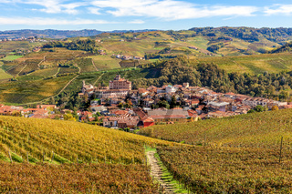 Town of Barolo among vineyards in Italy.