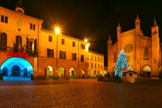Christmas tree on central square. Alba, Italy.