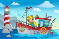 Fishing boat theme image 2 - picture illustration.