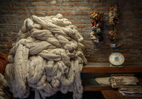 Plain wool in a rug factory