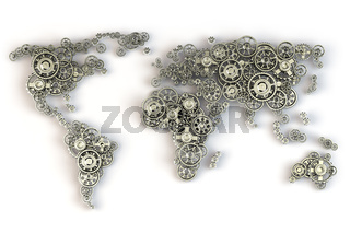 Map of the world from metallic gears. Global economy connections and international  business concept.