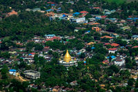 Hpa An city with Gabar Lone Buddhist Pagoda. Myanmar (Burma)