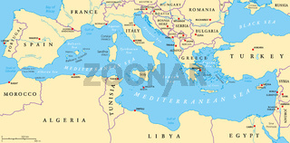 Mittelmeer Region Landkarte