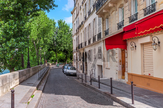 Typical quiet street in paris, France.