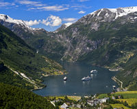 three cruise ships in the UNESCO World Natural Heritage Site Geirangerfjord, Norway