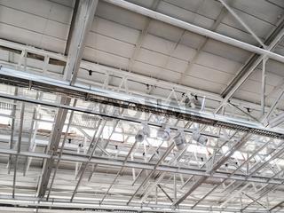 industrial factory ceiling with metal roof beams