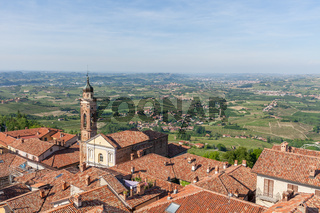 Red roofs of La Morra and green hills of Piedmont.