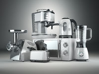 Kitchen appliances. Blender, toaster, coffee machine, meat ginder, microwave oven and kettle.