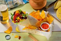 Tortilla Wrap with nachos and Chicken
