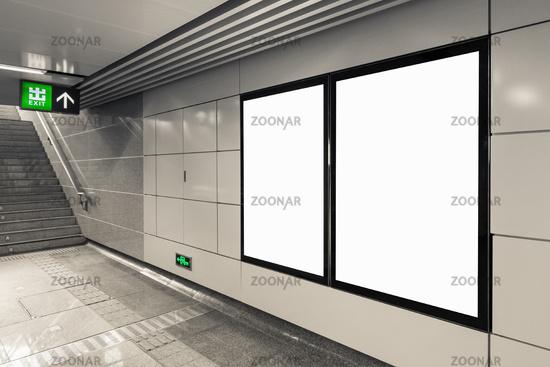 blank billboard in exit