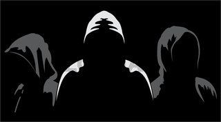 Silhouettes of three anonymous