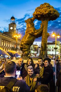 People on Puerta del Sol square, Madrid, Spain.
