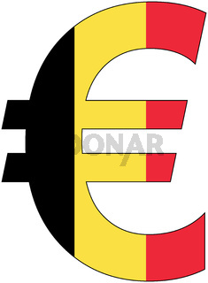 euro with flag of belgium