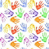Rainbow watercolor hand prints