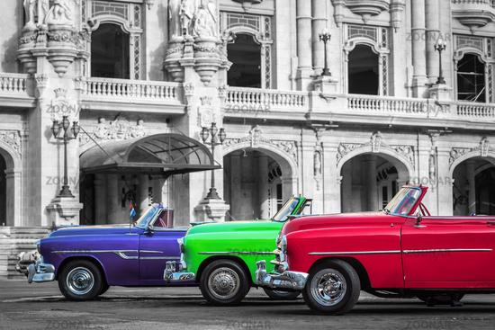 Three Cabriolet vintage cars parked in Havana City Cuba