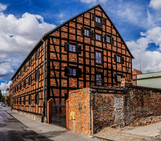 Old building of red brick. Bydgoszcz, Poland