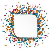 White Round Rectangle Confetti