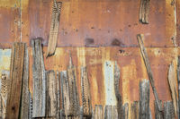 rusty metal and wood shingles