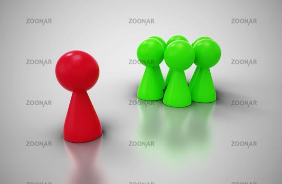 Mobbing Konzept mit Spielfiguren