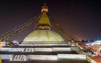 Boudhanath stupa at night in Kathmandu