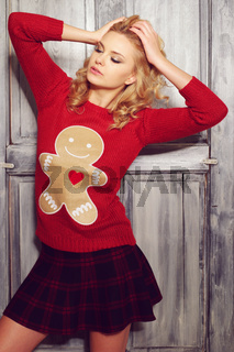 Sultry Woman in Red Sweater