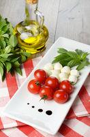 Caprese salad in shape of Italian flag