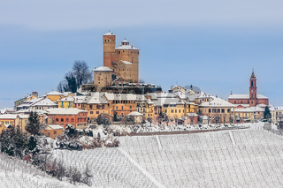 Town of Serralunga d'Alba in winter.