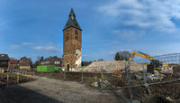 Tower of the Church of Borschemich during Abrisses.Tagebau Garzweiler. Panorama Shot.