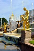 The Grand Cascade, palace and Samson Fountain in Peterhof,