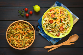 Raw Fusilli and Vegetarian Pasta Salad