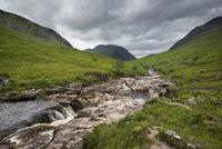 The River Etive in Glen Etive in Glen Coe in the Scottish Highlands